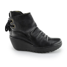 Fly London Yama Women's Aw16 Black Leather Wedge Heel Lace Back Ankle BOOTS UK 5 (eu Size 38)