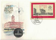 Numisbrief DDR 750 Jahre Berlin III 1987 mit 5 Mark Münze Rotes Rathaus