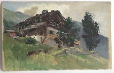 Ancienne Huile sur Papier Peinture Esquisse peinte Paysage Montagnes Chalet