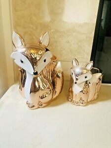 BATH & BODY WORKS GOLD FOX 3 WICK CANDLE AND FOX SOAP HOLDER  2  items NEW