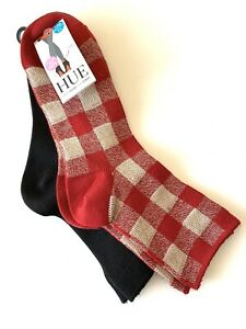 HUE Wintersoft Boot Sock Shortie Super Soft 2 Pairs O/S Black, Red & Tan Check