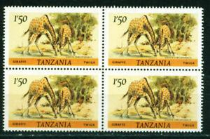 Tanzania Fauna Drinking Giraffes stamp in Block 1965 MNH