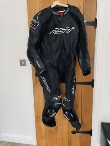 RST Tractech Evo R Leather Motorcycle 1 One Piece Suit - Black / White UK 46
