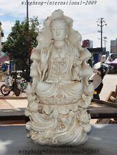 Old Tibet Buddhism Dehua White Porcelain Quan yin Kwan-yin Goddess Buddha Statue