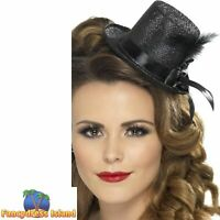 Mini Tophat Burlesque Glamour Party Sparkly Women's Fancy Dress Costume