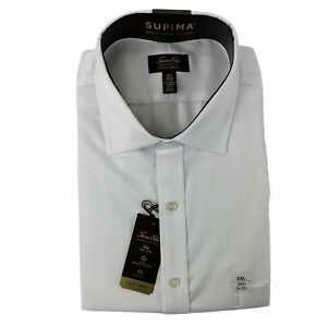 Tasso Elba Mens Regular Fit Non-Iron Supima Dress Shirt White 18 1/2 34/35