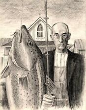 American Gothic Codfish 8X10 fish art print Parody Cottage Decor by Barry Singer