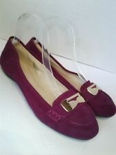 Nine West Womens 9.5 Pink Fuschia Ballet Flats Loafers Suede Leather Gold Round
