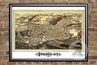 Vintage Ithaca, NY Map 1882 - Historic New York Art - Old Victorian Industrial