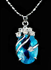 Korean New Blue Charm Women Silver Crystal Pendant Chain Fashion Necklace Gift