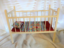 Mid-century White Wood Doll Bed Crib  c.1940s - Shabby Chic