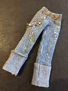 "Bratz 10"" Doll Clothes Phoebe Twiins Blue Denim Jeans With Chains"