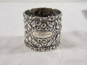 """""""REPOUSSE"""" PATTERN STERLING SILVER NAPKIN RING ~ 1.26 TROY OUNCES"""
