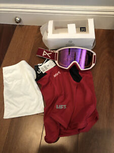 NEW Anon Burton Relapse Jr Ski Snow Goggles W/ new MFI Mask Berry/ Pink Amber