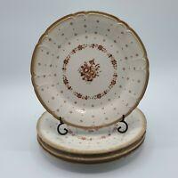 Set of 4 Sango Renaissance  Arcadia Brown Stoneware Salad Plates Japan #291