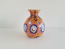 """Murrine"" Vase Murano Formentello Eli Vetri d'Arte Originaletikett H 14 cm"