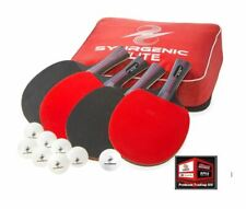 New, Synrgenic Table Tennis Paddle Set - 4 Professional Rackets, 8 Balls