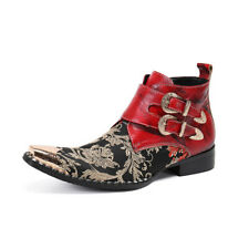 Men Ankle Cowboy Boots Chunky Heel Pointy Toe Embroidery Floral Metal Toe Fgg55