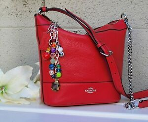 NEW COACH Paxton Duffle Bag Crossbody Classic Chain Purse  F76668 RED bucket bag