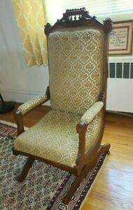 Antique1890's Eastlake Brocade on Walnut Platform Rocking Chair Victorian Rocker