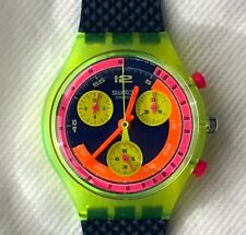 """SWATCH WATCH-SCJ101- """"GRAND PRIX"""" -CHRONO-NEW IN PLASTIC CASE WITH TWO BATTERIES"""
