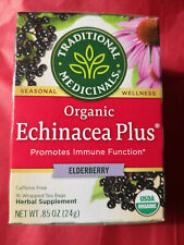 (1) TRADITIONAL MEDICINALS Organic ECHINACEA PLUS ELDERBERRY HERBAL TEA 16 BAGS