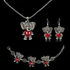 Elephant Tibetan Silver Turquoise Necklace Bracelet Earrings Jewelry Set Wedding