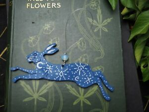 Small Blue Star Hare Hanger - Window Ornament - Pagan, Witchcraft, Altar Decor