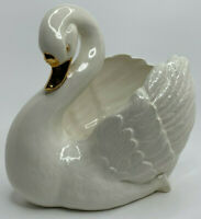 Majestic Ceramic Swan Planter or Decorative Bowl White and Gold