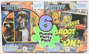 6 Puzzle Party Pack 100 Pcs Marvel Guardians Of Galaxy Spider Man Despicable Me