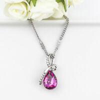 Fashion Silver Chain Crystal Rhinestone Pendant Necklace Wedding Jewelry Gift