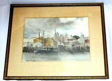 "ORIGINAL VIRGINIA GRUPPE SIGNED FRAMED 14.5"" X 10"" WATERCOLOR HARBOR SCENE"