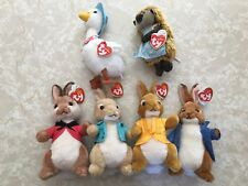 TY Beanie Babies PETER RABBIT MOVIE Full Set Of 6 Benjamin Cotton Tail Mopsy Lot