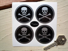 JOLLY ROGER Wheel Centre Helmet Style STICKERS 50mm Skull & Crossbone Pirates