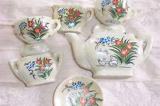 6 Piece Mini Tea Set Toy Tea Pot Cup Saucer Porcelain Japan Marked