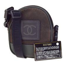 Auth CHANEL Sport CC Logos Cross Body Shoulder Bag Canvas Khaki Black BN 04V1166