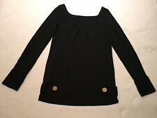 New M&S black jersey blouse with large gold buttons UK size 8