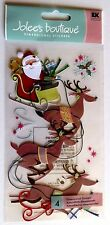 Santa Flying Reindeer Christmas Eve Dasher Dancer Vixen RARE Jolees 3D Sticker