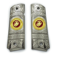 For Colt Kimber 1911 Grips Nickel Gold W enamel Full Size 1911 Government grips