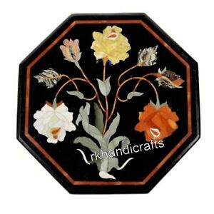 12 Inches Colorful Flowers Art Inlaid End Table Top Stone Patio Coffee Table Top