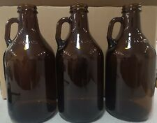 Case of 12 - 32 oz / 1 Liter Amber Glass Beer Growler Bottle New, With Lids