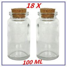 18x Mini/Small Lolly/Candy DECORATIVE Glass Jar Bottle w/h Cork Lid - 100ml -AP