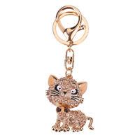 Keyring Keychain Key Chain Cat Crystal Rhinestone Handbag Pendant Bag Purse New