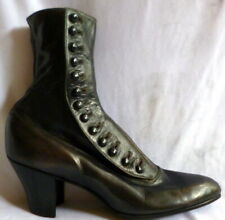 Vintage 1910s Black Leather Button Up Boots Shoes Size 4 Edwardian