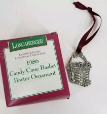 Longaberger 1986 Candy Cane Basket Pewter Tie on Christmas Ornament New in box