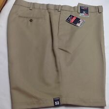 Roundtree &Yorke Men Travel Smart Shorts Flat Microfiber Expander 52 Khaki $46