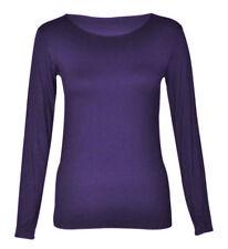 Womens New Round Neck Long Sleeve Plain Basic Ladies Stretch T Shirt Top 8-14