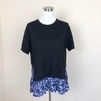 KATE SPADE Women's L Black Cashmere Silk Ditzy Field Short Sleeve Knit Sweater