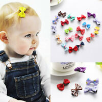 20 PCS Kids Baby Girls Ribbon Bow Hair Pin Hair Clip Mini Bowknot Clips Hairpins