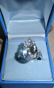 HOLLYWOOD COLLECTION BETTY GRABLE 925 SILVER SIMULATED DIAMOND RING SIZE T+ QVC